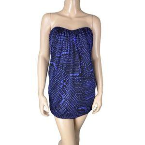 BCBG Black Purple Blue Strapless Draped Mini Dress